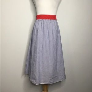 Red, White and Blue Cotton Midi Skirt